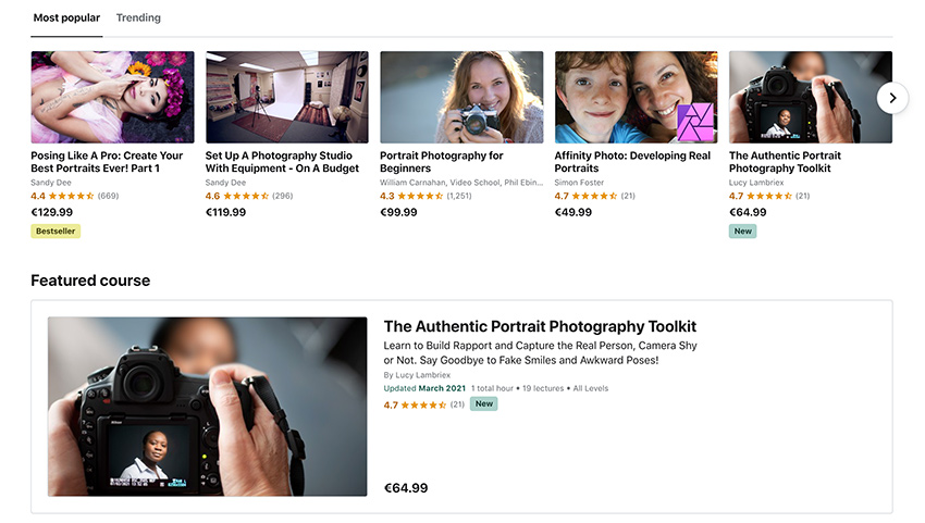 The Portrait Photography Toolkit is featured on Udemy